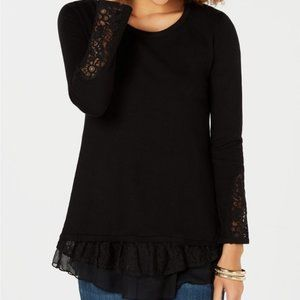 Style & Co Lace Trim Scoop Neck Sweater Top